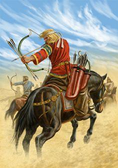 Parthian horse archers, 1st century, BCE, artwork by Johnny Shumate