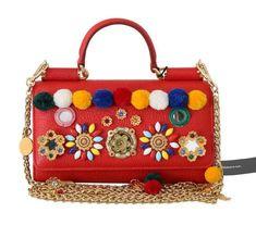 Red VON Leather Crystal Carretto POM POM Bag – Zetabrands
