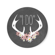 Floral Antlers Chalkboard Inspired Wedding Sticker