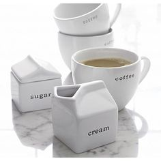 Embossed Cream and Sugar in Tea & Coffee Accessories | Crate and Barrel