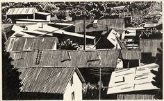 "Rooftops in Cordova, 1992 ~ woodcut print, 15.75"" x 25.5"" ~ Thayer Carter"