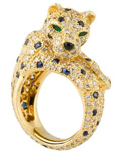 CARTIER PANTHERE Rare Diamond Sapphire and Gold Ring