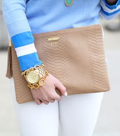 GiGi New York | Lemon Stripes Fashion Blog | Sand Uber Clutch