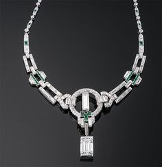 """Marcus & Co."" Art Deco Diamond and Emerald Necklace ~ M.S. Rau Antiques"