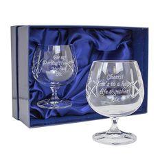 Engraved Crystal Pair of Brandy Glasses