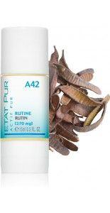 RUTINA (270 mg), ETAT PUR  El Activo puro Rutina está indicado para la piel con cuperosis. La Rutina es muy conocida en el ámbito médico por su capacidad para proteger los vasos sanguíneos. Refuerza eficazmente la pared de los vasos y contribuye a reducir la aparición de las pequeñas rojeces localizadas de la piel. Pendiente.