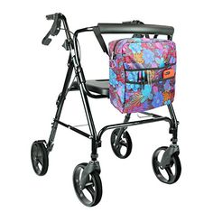 Rollator Bag by Vive  Universal Travel Tote for Carrying Accessories on Wheelchair Rollator Rolling Walkers  Transport Chairs  Lightweight Handicap Medical Mobility Aid Purple Floral ** Find out more about the great product at the image link. Note: It's an affiliate link to Amazon