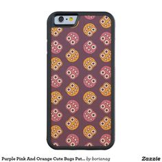 Purple Pink And Orange #Cute #Bugs #Pattern Carved® Maple #iPhone 6 #Bumper #Case #iphonecase