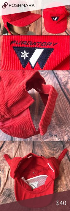 """Purgatory Ear Flap Corduroy Cap Hat Nice Vintage Ski Resort """"Purgatory"""" Hat. Corduroy. One size fits all. Red with Blue/White Logo. Sticky adjustments. In great condition. No flaws. Very Clean. Has ear flaps. From smoke free home. bump Accessories Hats"""