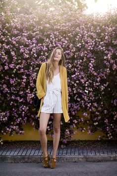Get this look: http://lb.nu/look/8712999  More looks by Marta Ucler Ucler: http://lb.nu/martaucleer  Items in this look:  Mango Jacket, Bershka Shorts, Zara Sandals   #bohemian #casual #chic