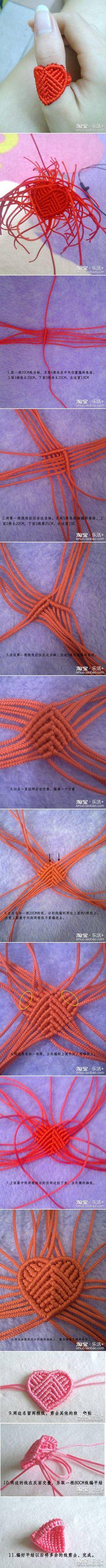 #DIY Hand Knit Heart Ring Anillo Corazon #Tutorial #Macrame