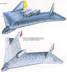 Arado E 555-1 and E 555-3, a rather bonkers German concept for a long range jet bomber.