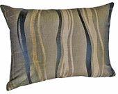 Taupe Decorative Couch Pillows, Bronze Black Gold Wavy Stripes, Autumn Fall Home Decor, Contemporary Throw Pillows, Lumbar Oblong 14x20