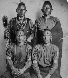 Sun Down, Scared Up Buffalo, White Robe and Yellow Horse. Wazhazhe (Osage) Nation - 1865