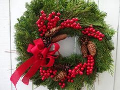Christmas Wreath Evergreen Wreath Decorated Christmas Wreath Berry Wreath Faux Decorated Christmas Wreath Berry Wreath Holiday Wreath by donnahubbard on Etsy Thanksgiving Wreaths, Holiday Wreaths, Twig Wreath, Willow Wreath, Red Berry Wreath, Green Christmas, Country Christmas, Indoor Wreath, Holiday Centerpieces