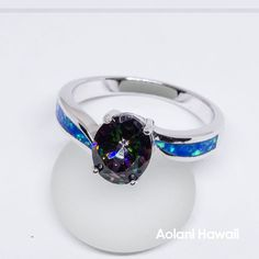 Mystic Rainbow Topaz and Opal 925 Sterling Silver Inlay Ring Titanium Wedding Rings, Titanium Rings, Hawaiian Wedding Rings, Wide Wedding Bands, Wedding Tips, Rainbow Topaz, Ring Crafts, Mystic Topaz, Blue Opal