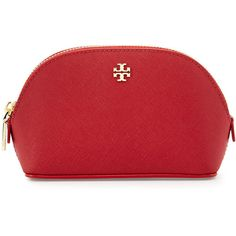Tory Burch York Small Leather Makeup Bag ($100) ❤ liked on Polyvore featuring beauty products, beauty accessories, bags & cases, bags, kir royale, makeup bags and cases, cosmetic bag, travel bag, dopp kit and travel kit