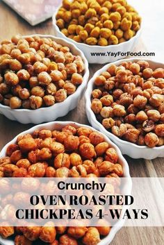 Crunchy Oven Roasted Chickpeas 4 Ways – Yay! For Food Roasted chickpeas are healthy, crunchy, addictive, and the flavour combinations are endless! Check out these 4 delicious flavours; Chickpea Snacks, Chickpea Recipes, Vegetarian Recipes, Healthy Recipes, Healthy Snacks Savory, Garbanzo Bean Recipes, Protein Snacks, Simple Recipes, Healthy Soup