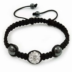 "Hematite & Clear Swarovski Crystal Beaded Shamballa Bracelet - Adjustable - 12mm Diameter Avalaya. $13.50. Length: 21.0cm (8.27""). Occasion: casual wear, club night out, cocktail party. Wear On: wrist. Gemstone: swarovski crystal. Save 30%!"