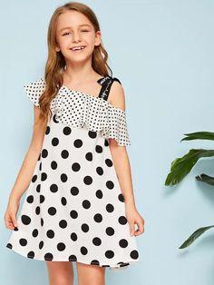 Girls Asymmetrical Neck Tie Strap Foldover Polka Dot Dress – gagokid