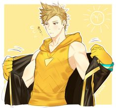 Anime Pokemon Go Yellow Team Captain Spark Male Cosplay Costume Black Jacket