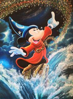 """Size: cm Not framed Mint condition Certificate of authenticity Hand signedOriginal painting on canvas of Mickey Mouse """"The Sorcerer's Apprentice. Disney Mickey Mouse, Photos Mickey Mouse, Mickey Mouse Drawings, Mickey Mouse Tattoos, Walt Disney, Mickey Mouse Wallpaper, Mickey Mouse And Friends, Cute Disney, Disney Drawings"""