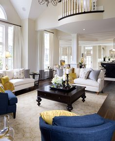 """Interesting drapery treatment, like the Juliette balcony overlooking the room and as always, love the """"white on white"""" colour scheme with the fibrant yellow and blue accents. Formal Living Rooms, My Living Room, Home And Living, Living Room Furniture, Living Room Decor, Living Spaces, Classic Living Room, Beautiful Living Rooms, Furniture Layout"""