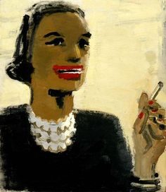 'Woman with Red Mouth' (1954-55) by David Park (1911-1960). Oil on canvas, 28.25 x 24.125 in. collection: Smithsonian American Art Museum