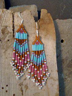 Handstitched Beaded Fringe Southwest Style Earrings by Sewartzee, $12.00