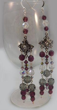 Purple Swarovski Crystal Earrings – Bead Twins   Custom Designed Jewelry