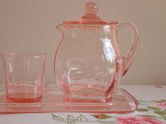 Pink depression glass bedside water set