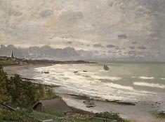 The Beach at Saint-Adresse, 1876 by Claude Monet. Impressionism. landscape