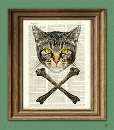Yes.  Definitely going over kitty's food station. Gnarly Cat and Crossbones illustration Dictionary by collageOrama, $6.99
