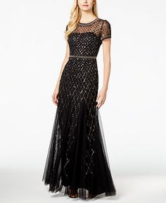 Adrianna Papell Sequined Bead-Trim Ball Gown - Dresses - Women - Macy's