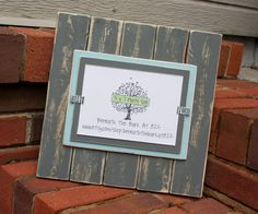 Picture Frame - Distressed Wood - Vertical Boards - Holds a 5x7 Photo - Gray & Sky Blue