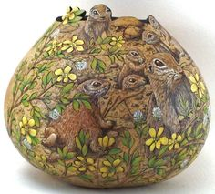 Gourd Art: Group Smal Mammals squirrels.  make either a feeder or a bird house out of this type.  be sure to have artist sign and put on the resort and web
