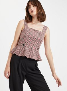 66c74b25ea865 Check Pinafore Top with Buttons - Miss Selfridge US Miss Selfridge