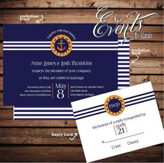 WEDDING INVITATION SAMPLE  blue natical with by Eventsbyicandy, $3.75