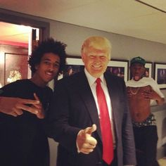 Tyler the Creator behind Donald Trump. | The 28 Best Celebrity Photobombs of the Year