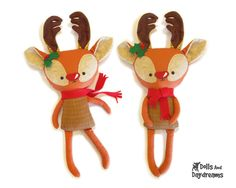 Rudolph Reindeer Softie Sewing Pattern PDF by DollsAndDaydreams, $10.00