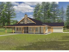 rustic house plans with wrap around porches | An Extra-Deep Covered Porch Surrounds This Rustic Country Home