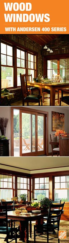 Andersen knows that replacing or remodeling with windows featuring wood interiors means you're not just adding beauty and warmth to your home – you're adding value. Yet the beauty of wood is more than skin deep. It's also an incredible insulator and is a strong, time-proven building material. Andersen 400 Series windows and patio doors feature wood interiors with low-maintenance Perma-Shield clad exteriors for long-lasting weathertight performance. Click through to see them at The Home…