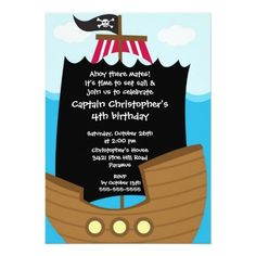 Custom Pirate Ahoy Mates Birthday Party Invitation Boy created by celebrateitinvites. This invitation design is available on many paper types and is completely custom printed. 1st Boy Birthday, 4th Birthday Parties, Birthday Ideas, Birthday Gifts, Kids Pirate Ship, Pirate Birthday Invitations, Pirate Party, Pirate Theme, Personalized Invitations
