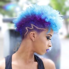 2019 Lovely and Stunning Natural Hairstyles to Copy - Naija's Daily Tapered Natural Hair, Dyed Natural Hair, Dyed Hair, Natural Mohawk, Curly Hair Tips, Curly Hair Styles, Short Natural Haircuts, Natural Hairstyles, Shaved Hair Women
