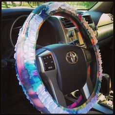 Tied, Dyed and Ruffled Hippie Chic Steering Wheel Cover  #boho #hippie #upcycled