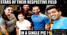 Cricket Tennis Boxing Bollywood Actress Cricket Trolls  Shikhar Dhawan with Rohan Bopanna, MC Mary Kom, Mahesh Bhupathi and Lara Dutta  http://www.crickettrolls.com/2016/02/21/too-many-stars-in-a-single-pic/