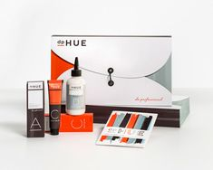"Packaging for a line of professional hair color.    ""dpHUE is a new, innovative retail beauty concept that provides professional hair color, color consultation and step-by-step education to customers for DIY hair color application. This positions dpHUE between drugstore box haircolor and a salon color experience, creating a whole new category in haircolor: custom color to go."