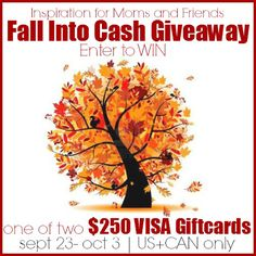 Happy First Day of Fall!!  enter our $ 500 Fall Into Cash Giveaway - good luck!