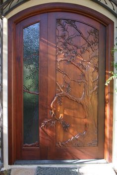 Carved Doors Wooden Ideas Wood Doors Are Warm and Welcoming Carved Doors Wooden Ideas. Custom wood doors, whether elegant or rustic, are a durable choice that can really set off the style of your h… Cool Doors, The Doors, Unique Doors, Entrance Doors, Doorway, Windows And Doors, Beautiful Front Doors, Door Entryway, Patio Doors