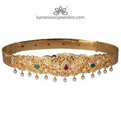 Stunning gold vaddanam collections by Kameswari Jewellers. Shop online from South India's finest traditional jewellers. Gold Bangles Design, Gold Jewellery Design, Gold Jewelry, Ruby Jewelry, India Jewelry, Diamond Jewelry, Jewelry Necklaces, Indian Wedding Jewelry, Bridal Jewelry